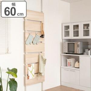 突っ張りラック 桐材天然木製 幅60cm ナチュラル ( 壁面収納 ディスプレイ 天井つっぱり )|interior-palette