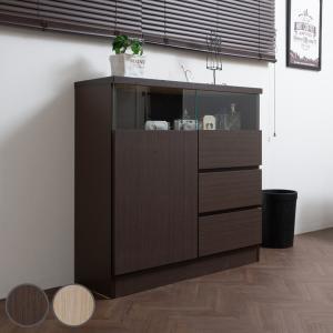 カウンター下収納 リビングキャビネット サイドボード 片開き扉 引出し3段 幅80cm ブラウン ( リビング収納 キッチン収納 収納棚 ) interior-palette