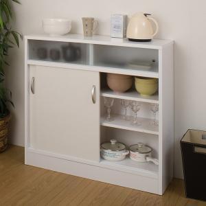 カウンター下収納 キャビネット 引戸 完成品 幅89.5 高さ85.5cm ( キッチン収納 リビング 窓下 日本製 国産 ) interior-palette