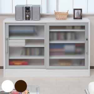 カウンター下収納 キャビネット ガラス引戸 アルミ枠 幅118cm ホワイト ( キッチン収納 リビング 窓下 サイドボード ) interior-palette