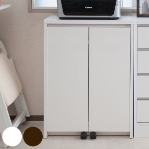 カウンター下収納 キャビネット デスクタイプ キャスター扉 幅60cm ホワイト ( キッチン収納 リビング 窓下 パソコンデスク )|interior-palette