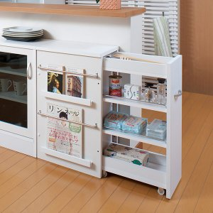 カウンター下収納 サイドワゴン キッチンワゴン キャスター付 完成品 幅45 高さ71cm ( キッチン収納 リビング 窓下 日本製 国産 )|interior-palette