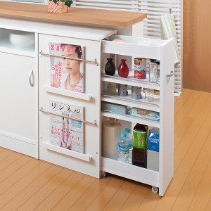 カウンター下収納 サイドワゴン キッチンワゴン キャスター付 完成品 幅45 高さ85.5cm ( キッチン収納 リビング 窓下 日本製 国産 )|interior-palette