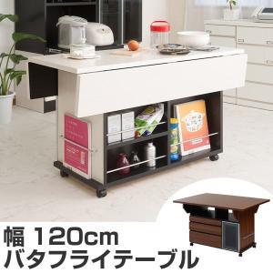【ポイント最大26倍】バタフライテーブル 引出し 3杯 片扉付 幅120cm ( キッチンワゴン デスク )|interior-palette