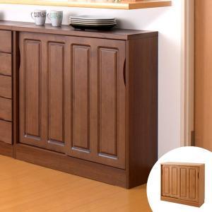 カウンター下収納 引戸 天然木 アルダー 木製 幅90cm ( 収納棚 窓下 キッチン サイドボード キッチンカウンター カウンター下 )|interior-palette