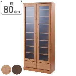 食器棚 カップボード 天然木 幅80cm 薄型ハイタイプ 完成品 ( 北欧 棚 キッチン収納 スリム コンパクト )|interior-palette