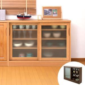 カウンター下収納 ガラス引戸 天然木 アルダー 木製 幅120cm ( 収納棚 窓下 キッチン サイドボード キッチンカウンター カウンター下 )|interior-palette