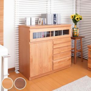 FAX台 チェスト キャビネット 天然木 アルダー 木製 幅90cm ( ファックス ルーター 電話台 サイドチェスト リビング収納 電話台 廊下 )|interior-palette