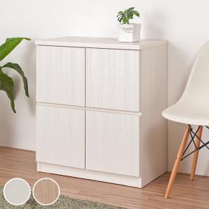 キャビネット 2段 スクエアキャビネット ロータイプ 板扉 幅70cm ( 収納棚 扉付き 戸棚 ラック 木製 )|interior-palette