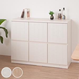 キャビネット 2段 スクエアキャビネット ロータイプ 板扉 幅104.5cm ( 収納棚 扉付き 戸棚 ラック 木製 )|interior-palette