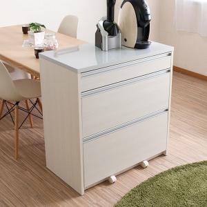 キッチンカウンター 引出し 3段 天板鏡面仕上 2口コンセント付 幅80cm ( キッチン収納 間仕切り シンプル カウンター カウンターキッチン )|interior-palette