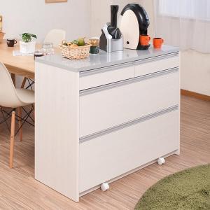 キッチンカウンター 引出し 3段 天板鏡面仕上 2口コンセント付 幅110cm ( キッチン収納 間仕切り シンプル カウンター カウンターキッチン )|interior-palette
