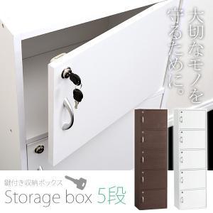 カラーボックス 鍵 扉付き 5段 (代引不可) 39302