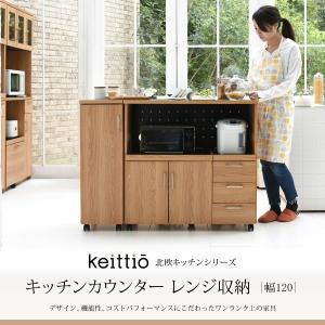 キッチンカウンター キッチンボード 120 幅 コンセント付き レンジ台 キッチン収納 食器棚 カウンター 引き出し 付き キャスター付き|interiorcafe