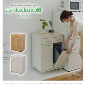 ゴミ箱 ごみ箱 ダストボックス 分別 キッチンカウンター おしゃれ キッチン 収納 引き出し付 60 木製 カフェ風|interiorcafe