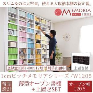 MEMORIA 棚板が1cmピッチで可動する 本棚 薄型 オープンラック 幅120.5 上置きセット|interiorcafe