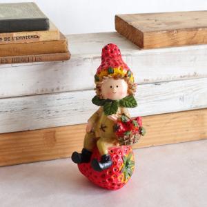 インテリア置物 かわいい人形 こびと妖精 イチゴとバスケットの画像