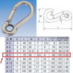 水本機械 スナップフックA型(リング付) ステンレス金具 A-7 NO.091