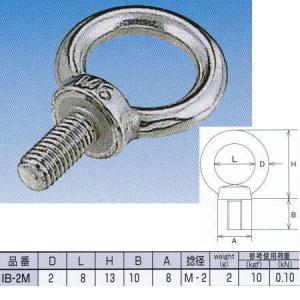 水本機械 アイボルト ステンレス金具 IB-2M ミリネジ NO.896