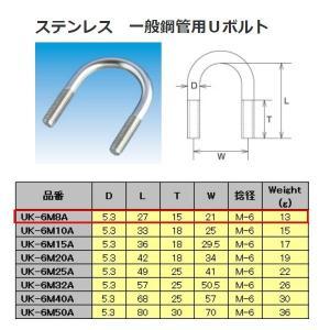 水本機械 ステンレス SUS304 一般鋼管用Uボルト UK-6m8A