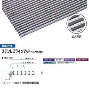 ミヅシマ工業 落とし込みマット 金属 ステンレスラインマット(スリップ防止加工) NS1510 高さ15mm ピッチ10mm 400-0160 平米単価|interiortool