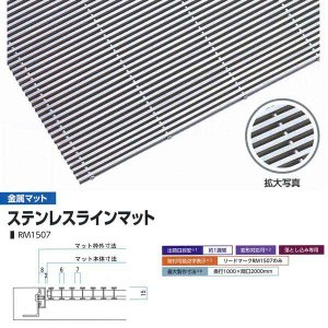 ミヅシマ工業 落とし込みマット 金属 ステンレスラインマット RM1507 高さ15mm ピッチ7mm 400-0220 平米単価|interiortool