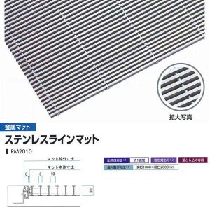 ミヅシマ工業 落とし込みマット 金属 ステンレスラインマット RM2010 高さ20mm ピッチ10mm 400-0250 平米単価|interiortool
