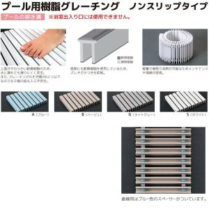 シマブン プール用樹脂グレーチング ノンスリップタイプ GRP-25W250 直線用 溝幅200|interiortool