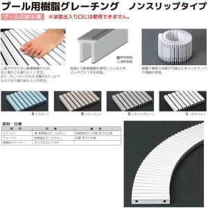 シマブン プール用樹脂グレーチング ノンスリップタイプ GRPR-25W200 曲線用 溝幅150|interiortool