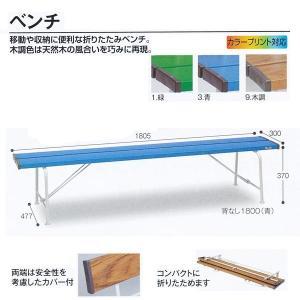 テラモト 折りたたみベンチ ベンチ 背なし1800 緑/青/木調 W1805×D477×H370mm BC-300-118|interiortool