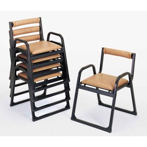 UACJ 本堂用椅子 4-TA型 黒色 65339 5脚セット|interiortool