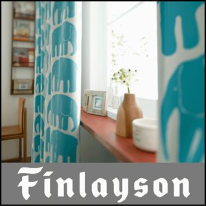 フィンレイソン エレファンティ ドレープカーテン 1.5倍ひだ 幅202〜300cm 丈126〜155cm|interiorzakka