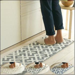 キッチンマット 北欧 洗える45×120cm クロスライン|interiorzakka