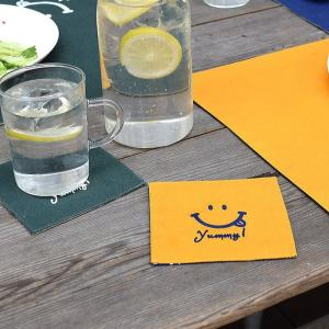 可愛い笑顔でテーブルが楽しくなるスマイルコースター。会話も弾んじゃいそうです  コットン100%  ...