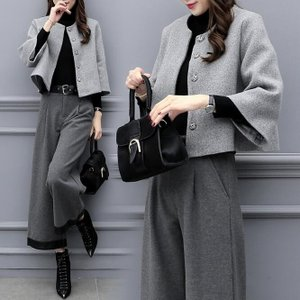パンツスーツ セットアップ ガウチョパンツ ゆったり  女子 ジャケット 通勤 入学式 卒業式 フォーマル 秋冬  大人  オシャレ30代40代50代の画像