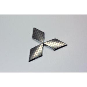 ミツビシ ファサネイトエンブレム 市松模様風 MB15 デリカD:2 セット クローム カーパーツ 純正 メッキ|inventer