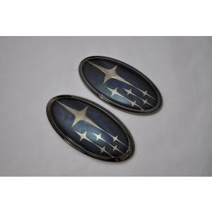 送料無料 スバル カラー エンブレム SJ5/SJG フォレスター ブラック フロント/リア 2点 カーパーツ 純正 メッキ inventer