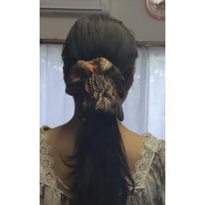 ペイズリー柄で上品なプリント柄です。  NEW『結QQ』ヘアアクセサリー===★★髪を巻き付けるだけ...