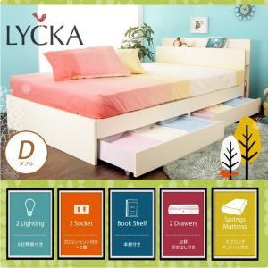 16日〜19日プレミアム会員5%OFF★ 木製ベッド ダブル デュアルポケットコイルマットレス付き LYCKA(リュカ) ホワイト白 北欧 収納ベッド|ioo