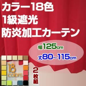 カーテン 1級遮光 防炎加工 ドレープカーテン「レイナ」幅125cm×2枚組 丈80-115cmまで5cm刻み|ioo