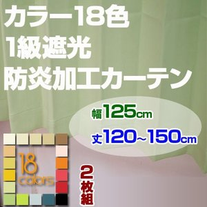 カーテン 1級遮光 防炎加工 ドレープカーテン「レイナ」幅125cm×2枚組 丈120-150cmまで5cm刻み|ioo