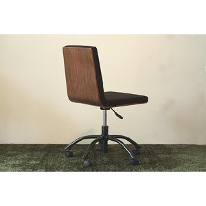 オフィスチェア デスクチェア 椅子 イス 背面ウォールナット突き板 黒 ブラック|ioo