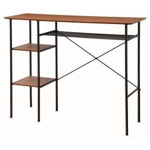 北欧 家具 バーカウンターテーブル 木製 幅120cm キッチン収納 棚付き ラック付き anthem(アンセム)|ioo