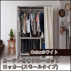 クローゼット 収納 クローゼットハンガー カーテン付き (スモール) ホワイト 伸縮式 衣類収納 ioo
