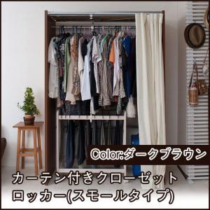 クローゼット 収納 クローゼットハンガー カーテン付き (スモール) ダークブラウン 伸縮式 衣類収納 ioo