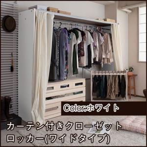 クローゼット 収納 クローゼットハンガー カーテン付き (ワイド) ホワイト 伸縮式 衣類収納 ioo