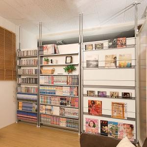 突っ張りパーテーション 8段 幅90cm ホワイト 棚 コミックラック DVD収納|ioo|03