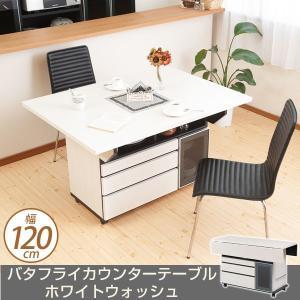 バタフライダイニングテーブル カウンターテーブル 幅120cm ホワイトウォッシュ 食卓テーブル 引出し収納 ioo