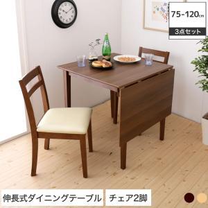 伸張式ダイニング3点セット バタフライダイニングテーブル テーブル S(幅75cm-幅120cm)+ダイニングチェア2脚 木製 食卓|ioo