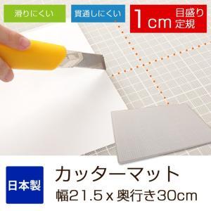 カッターマット 幅21.5x奥行き30cm A4 1mm間隔のメモリ定規 エンボス加工(滑り止め) カッターマット|ioo
